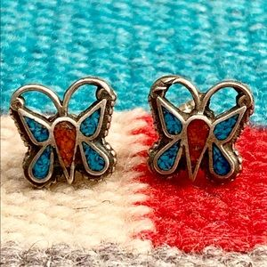 Sterling Turquoise & Coral Butterfly Earrings